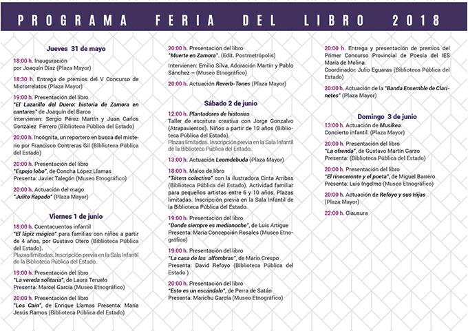programa Feria del libro 2018 Zamora Librería Semuret