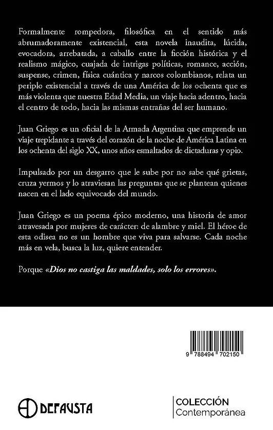 libro Juan Griego contraportada Adolfo Dominguez
